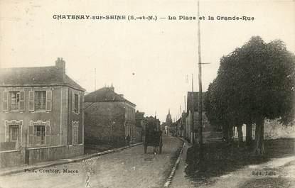 """CPA FRANCE 77 """"Chatenay sur Seine, la place et la grande rue"""""""