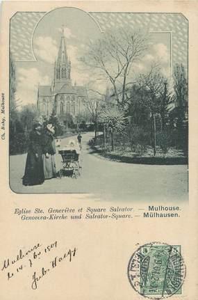 """/ CPA FRANCE 68 """"Mulhouse, église Saint Geneviève et square Salvator"""""""