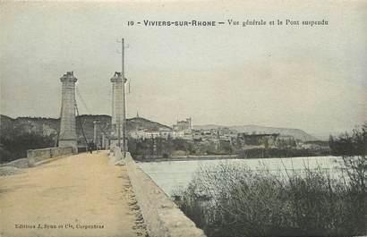 """CPA FRANCE 07 """"Viviers sur Rhone, vue générale et le pont suspendu"""""""