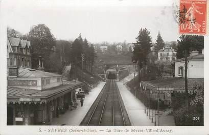 """/ CPSM FRANCE 92 """"Sèvres, la gare de Sèvres ville d'Avray"""""""