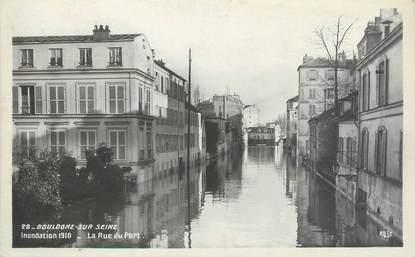 """/ CPSM FRANCE 92 """"Boulogne sur Seine, la rue du port"""" / INONDATION 1910"""
