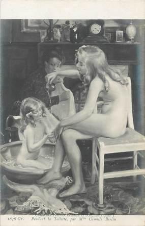 """/ CPA NU / UNION DES FEMMES PEINTRES ET SCULPTEURS NR 1646 Gr """"Pandant la toilette par Melle Camille Berlin"""""""