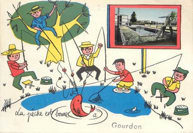 "/ CPSM FRANCE 46 ""Gourdon""  / PÊCHE"
