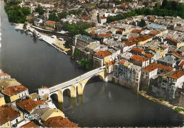 """/ CPSM FRANCE 47 """"Villeneuve sur Lot, le pont vieux sur le lot """""""