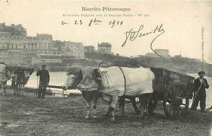 "/ CPA FRANCE 64 ""Biarritz Pittoresque, attelages Basques sur la grande plage nr 158"""