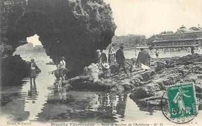 """/ CPA FRANCE 64 """"Biarritz Pittoresque, sous le rocher de l'Artillerie nr 51"""""""