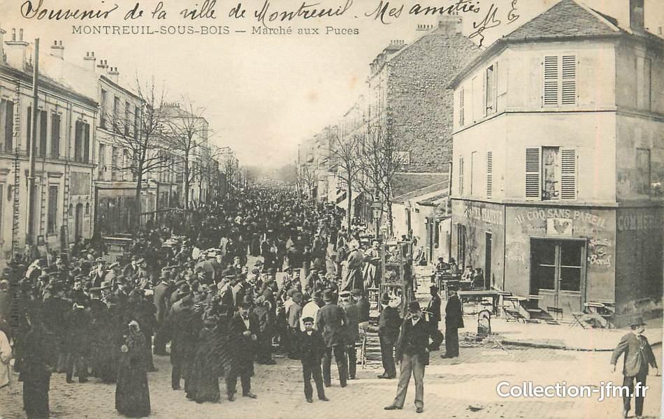 CPA FRANCE 93 Montreuil sous bois, marché aux puces  ~ Plan De Montreuil Sous Bois