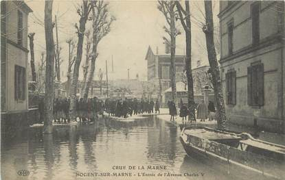 "/ CPA FRANCE 94 ""Nogent sur Marne, l'entrée de l'avenue Charles V"" / INONDATIONS"