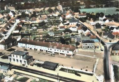 """/ CPSM FRANCE 50 """"Chef de Pont, vue générale aérienne, le quartier de la gare"""""""