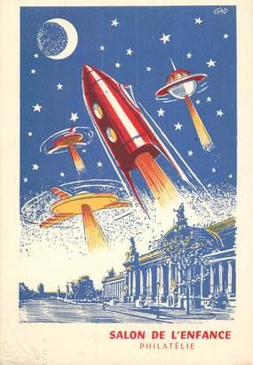 cpsm astronomie espace salon de l 39 enfance philatelie