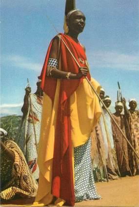 """CPSM CONGO BELGE """"Voyage du Roi au Congo, 1955, dignitaires de l'Urundi""""  / PUB CHOCOLAT COTE D'OR"""