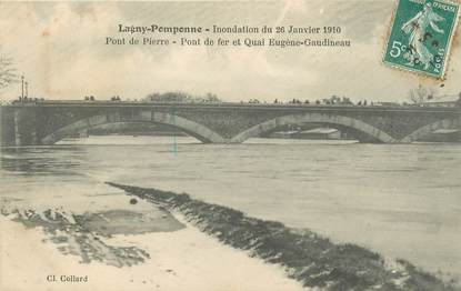 """CPA FRANCE 77 """"Lagny Pomponne, pont de Pierre"""" / INONDATION"""