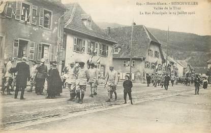 """CPA FRANCE 68 """"Bitschwiller, vallée de la Thur, rue principale le 14 juillet 1916"""""""