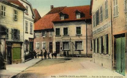 """CPA FRANCE 68 """"Sainte Croix aux Mines, rue de la gare et rue principale"""""""