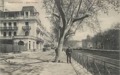 """CPA FRANCE 66 """"Perpignan, quai Vauban"""""""