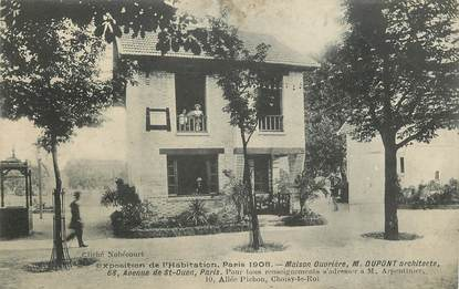 """CPA  """"Paris, XVII ème, Exposition de l'Habitation 1908, Maison ouvrière, Mr DUPONT architecte"""""""