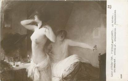 """/ CPA NU / SALON D'HIVER 1914 nr 2360 """"P. Sezille des Essarts, le réveil"""""""