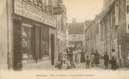 """CPA  FRANCE 02 """"Beaurieux, rue de l'Eglise, vue prise du couchant"""" / EPICERIE BUVETTE Etb. GOULET TURPIN"""