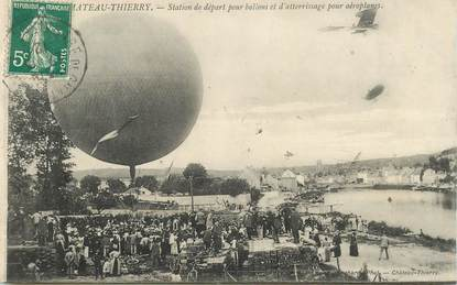 """CPA  FRANCE 02 """"Chateau Thierry, Ballons et aéroplanes"""" / AVIATION"""