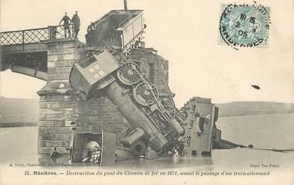"""CPA FRANCE 08 """"Charleville Mézières, destruction du pont du chemin de fer en 1871, avant le passage d'un train allemand"""""""