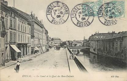 """/ CPA FRANCE 88 """"Epinal, le canal et le quai des Bons Enfants"""""""