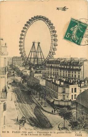 """CPA  """"Paris, VII ème, Avenue de Suffren et Panorama de la Grande roue"""" / AVIATION"""