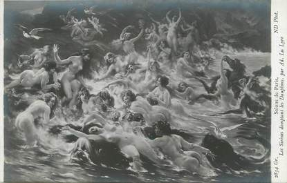 """/ CPA NU / SALON DE PARIS nr 2834 Gr """"Les Sirènes domptant les dauphins par Ad. La Lyre"""""""