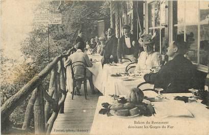 """CPA FRANCE 74 """"Restaurant dominant les Gorges du Fier"""""""