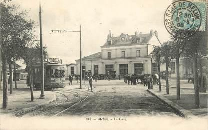"""/ CPA FRANCE 77 """"Melun, la gare"""""""