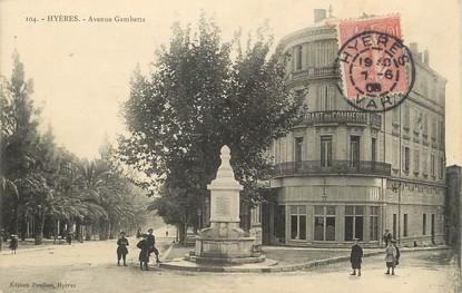 "/ CPA FRANCE 83 ""Hyères, av Gambetta """
