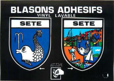 """/ CPM FRANCE 34  """"Sète"""" /  BLASON ADHESIF"""