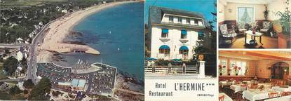 """/ CPSM FRANCE 56 """"Carnac plage, hôtel restaurant l'Hermine"""" / LIVRET"""