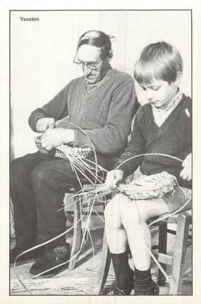 """/ CPM FRANCE 56 """"Fête Artisanale de Caro 5 juillet 1981, nr 116, François Coyac, vannier et Pierre Benoit son élève de 9 ans"""""""