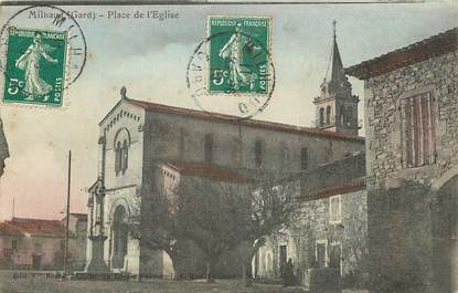 """CPA FRANCE 30  """"Milhaud, place de l'Eglise"""""""