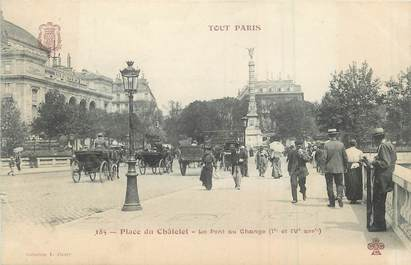 """/ CPA FRANCE 75001 """"Paris, place du Châtelet, le pont au change"""""""