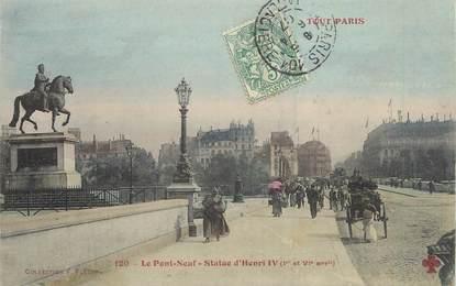 """/ CPA FRANCE 75001 """"Paris, le pont neuf, statue d'Henri IV"""""""