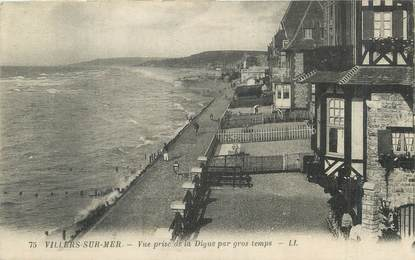 """/ CPA FRANCE 14 """"Villers sur Mer, vue prise de la digue par gros temps"""""""