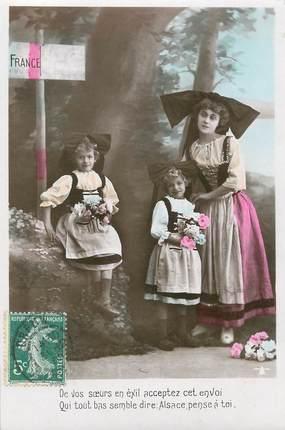 """/ CPSM FRANCE 67 """"De vos soeurs en exil, acceptez cet envoi, qui tout bas semble dire Alsace pense à toi"""" / FOLKLORE"""