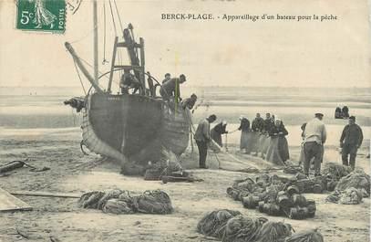 """/ CPA FRANCE 62 """"Berck Plage, appareillage d'un bateau pour la pêche"""""""