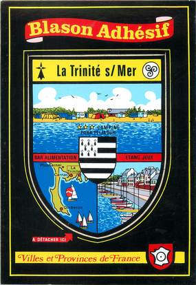 "/ CPSM FRANCE 56 ""La Trinité sur Mer"" / BLASON ADHESIF"
