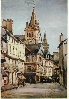 """/ CPSM FRANCE 56 """"Vannes, aquarelle du peintre A. Mahuas, la place Henri IV"""""""