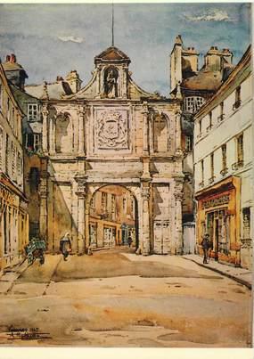 """/ CPSM FRANCE 56 """"Vannes, aquarelle du peintre A. Mahuas, la porte Saint Vincent"""" / PEINTRE"""