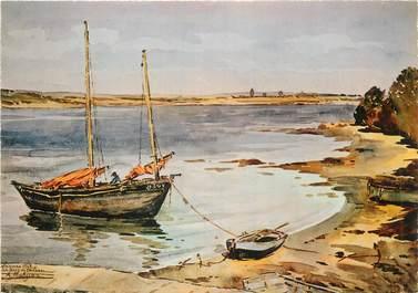 """/ CPSM FRANCE 56 """"Vannes, aquarelle du peintre A. Mahuas, baie de Conleau"""" / PEINTRE"""
