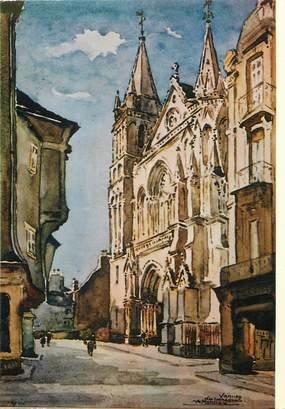 """/ CPSM FRANCE 56 """"Vannes, aquarelle du peintre A. Mahuas, la cathédrale"""" / PEINTRE"""