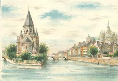 """/ CPSM FRANCE 57 """"Metz, le temple et la Moselle"""""""