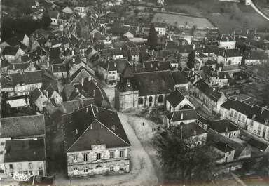 """/ CPSM FRANCE 58 """"Saint Saulge, vue aérienne sur l'hôtel de ville et l'église"""""""