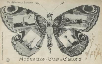 """/ CPA FRANCE 51 """"Mourmelon Camp de Chalons"""" / PAPILLON / SURREALISME"""
