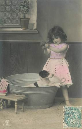 CPA   CHIEN  /  ENFANT