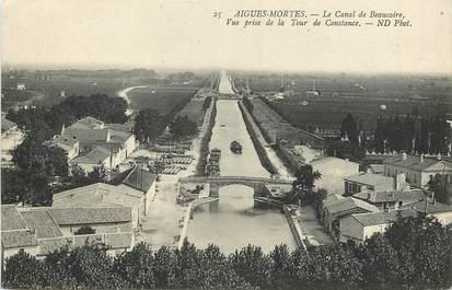 """CPA FRANCE 30  """"Aigues Mortes, le Canal de Beaucaire"""""""
