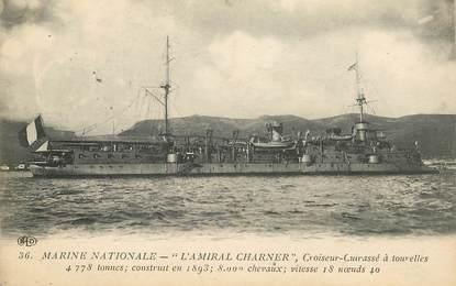 """CPA BATEAU GUERRE """"Croiseur  cuirassé à tourelles"""""""